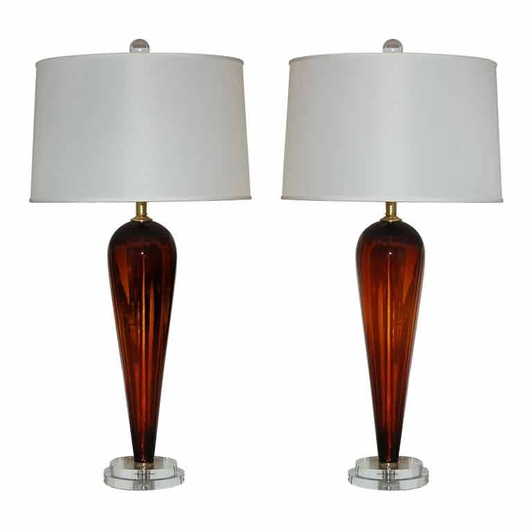 vintage murano teardrop lamps in cognac for sale at 1stdibs