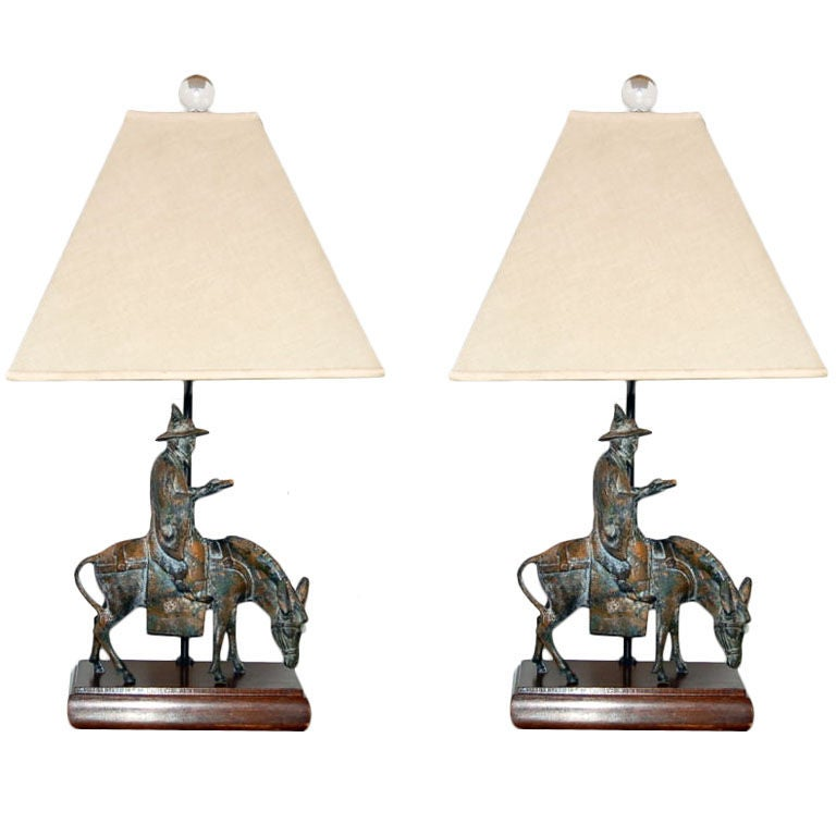 Vintage Patinated Bronze Sculpture Lamps By Frederick