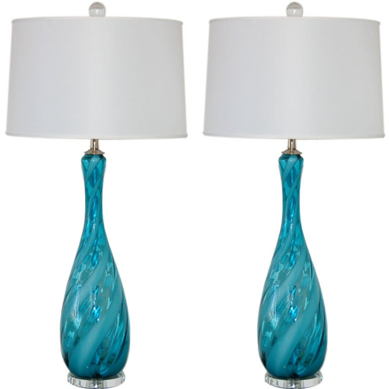 Peacock Blue Vintage Italian Lamps With White Ribbon