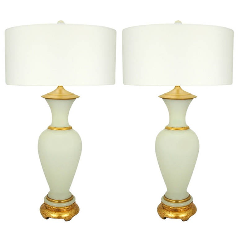 Good Pair Of Vintage Murano White Opaline Table Lamps With Gold Bands At 1stdibs