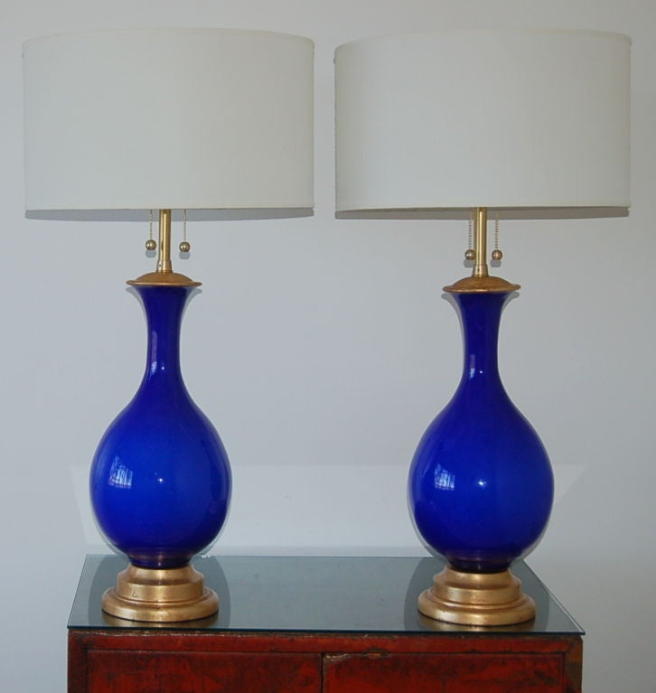 Mid century ginger jar lamp pair at 1stdibs - Vintage Cobalt Blue Murano Lamps From The Marbro Lamp