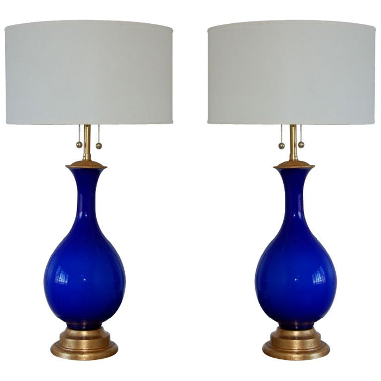 Nice Matched Pair Of Vintage Cobalt Murano Lamps By Marbro At 1stdibs