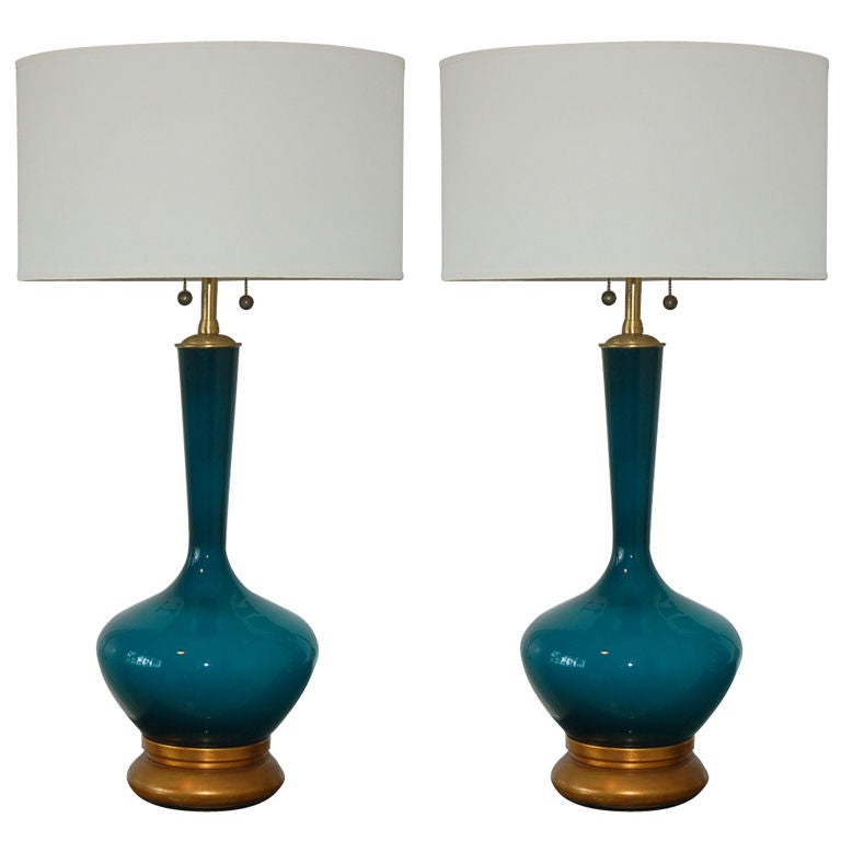 Vintage Hand Blown Swedish Glass Lamps The Marbro Lamp