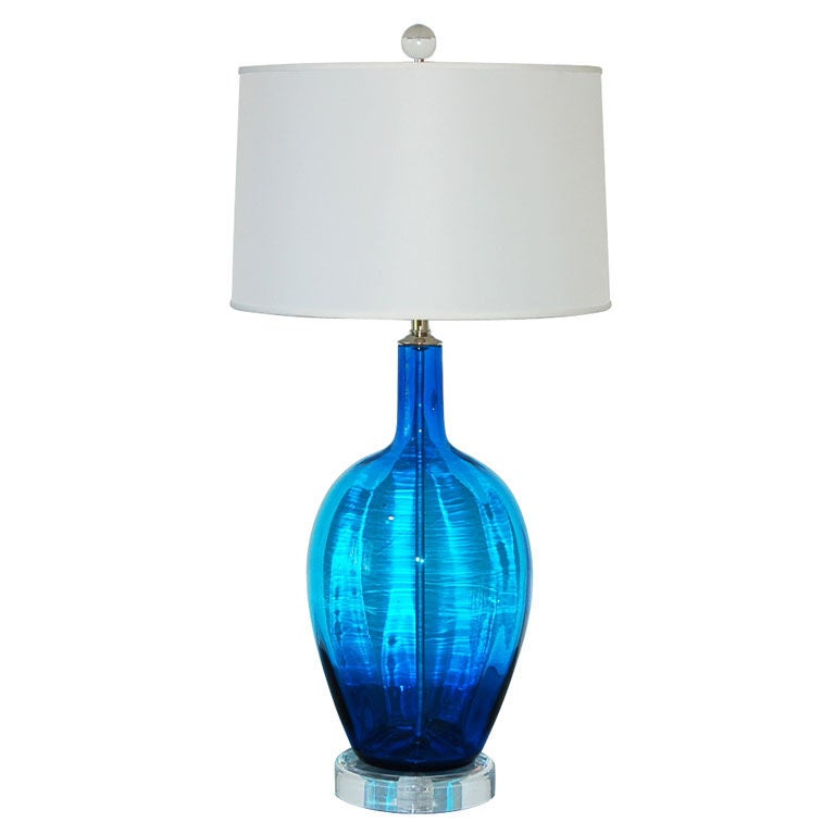 this vintage hand blown glass lamp in royal blue is no longer. Black Bedroom Furniture Sets. Home Design Ideas