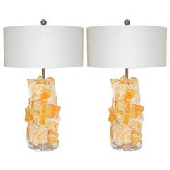 Tangerine Calcite Rock Candy Lamps by Swank Lighting