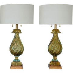 Matched Pair of Vintage Murano Lamps by The Marbro Lamp Company