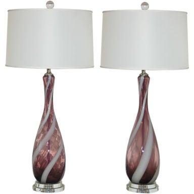 Vintage italian glass lamps in grape with white ribbon for Retro italian xxx