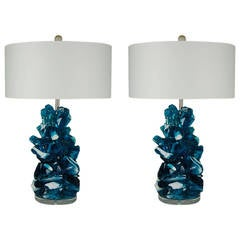 Blue Striped Rock Candy Lamps by Swank Lighting