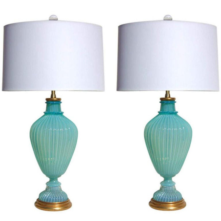 the marbro lamp company vintage murano glass lamps in tiffany blue. Black Bedroom Furniture Sets. Home Design Ideas