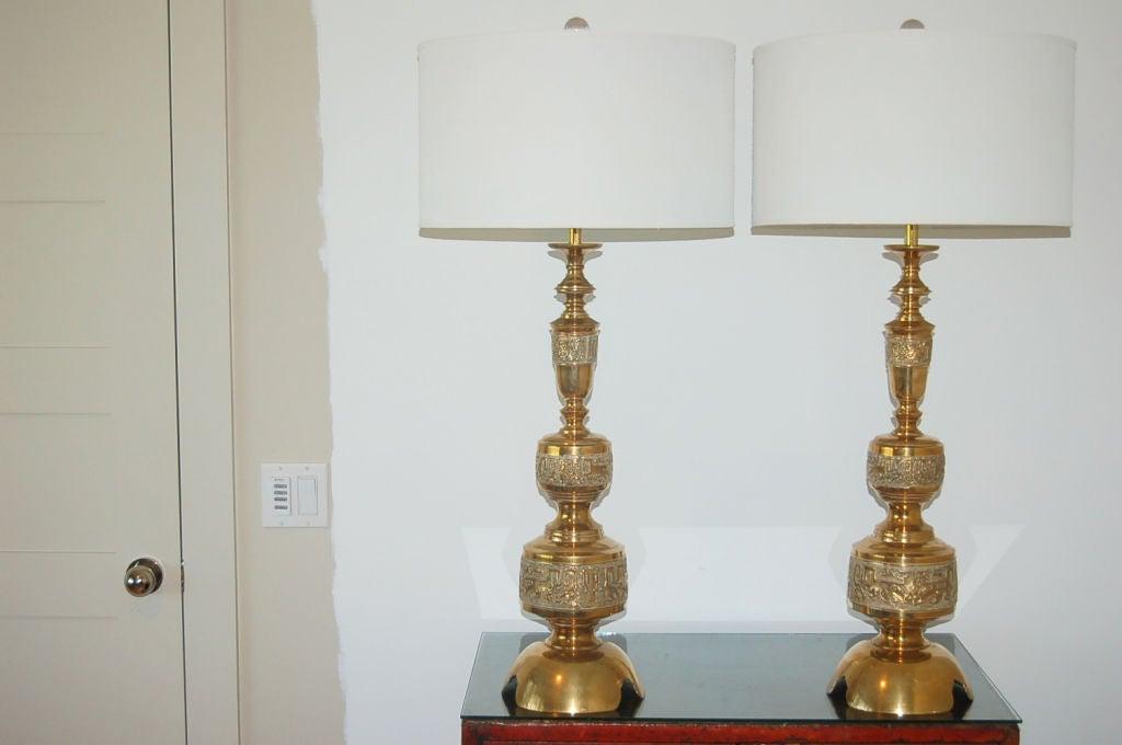 intricately carved vintage brass table lamps a la james. Black Bedroom Furniture Sets. Home Design Ideas