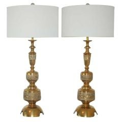 Intricately Carved Vintage Brass Table Lamps a La James Mont
