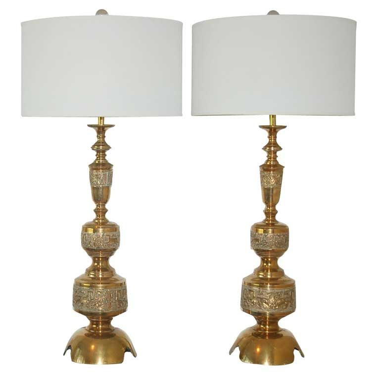 Vintage Brass Table Lamps A La James Mont At 1stdibs