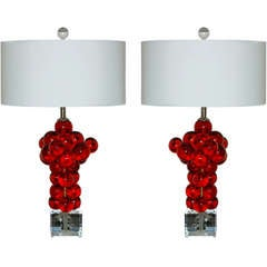 Matched Pair of Vintage Rare Red Resin Bubble Lamps by Silvano Pantani, 1966
