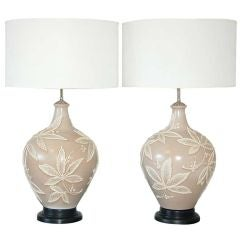 Vintage Italian Pottery Lamps on Mahogany Bases