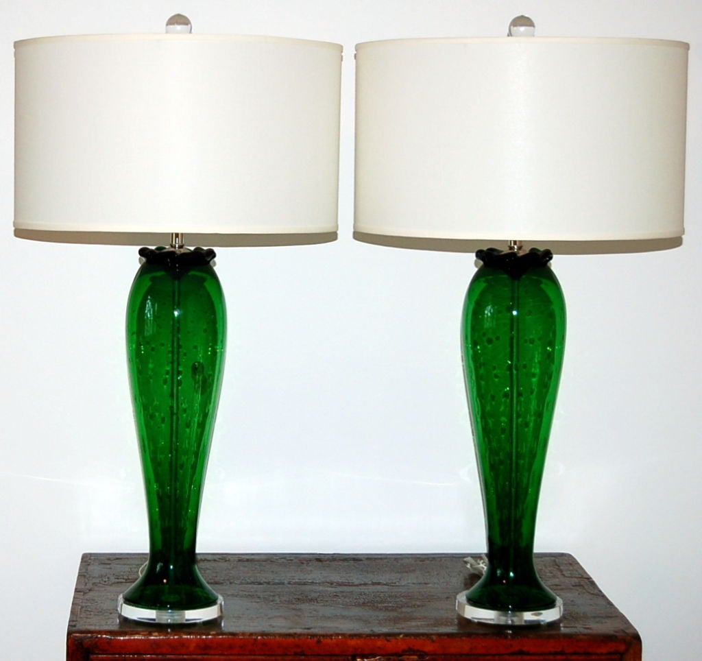vintage murano table lamps green and controlled bubbles. Black Bedroom Furniture Sets. Home Design Ideas