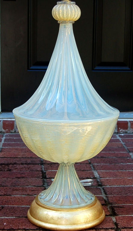 Matched Pair of Vintage Opaline Murano Lamps by The Marbro Lamp Company 3