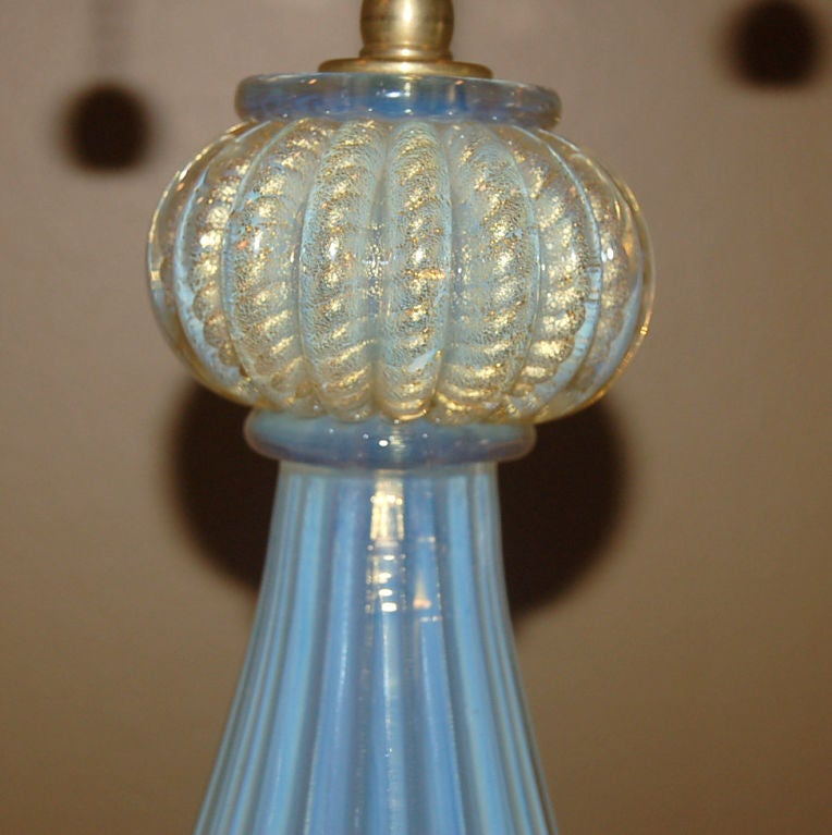 Matched Pair of Vintage Opaline Murano Lamps by The Marbro Lamp Company 8