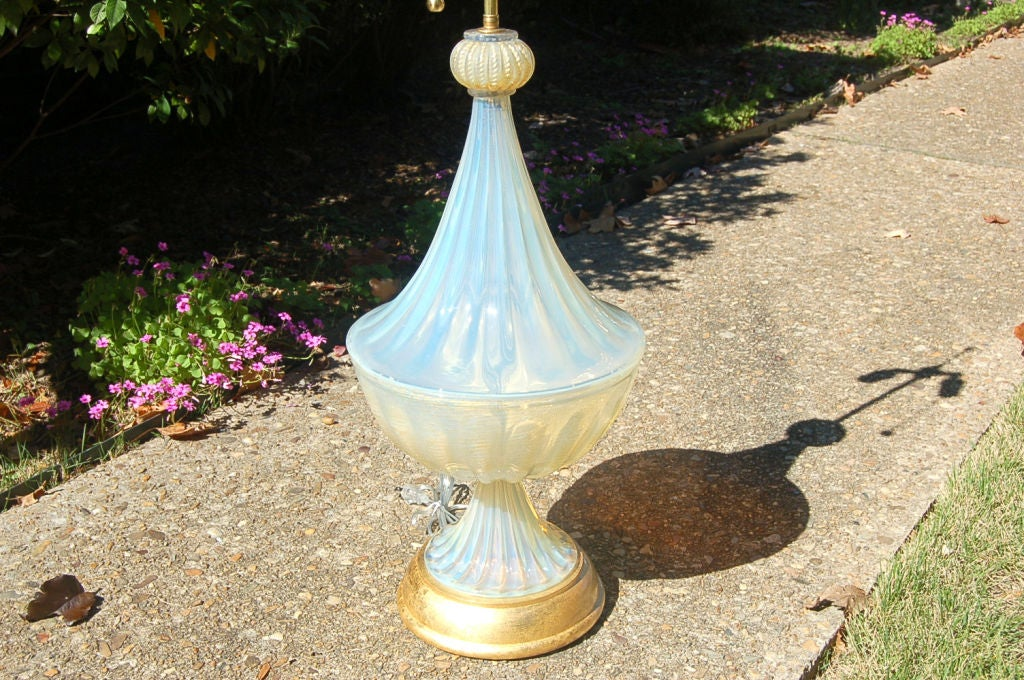 Matched Pair of Vintage Opaline Murano Lamps by The Marbro Lamp Company 9