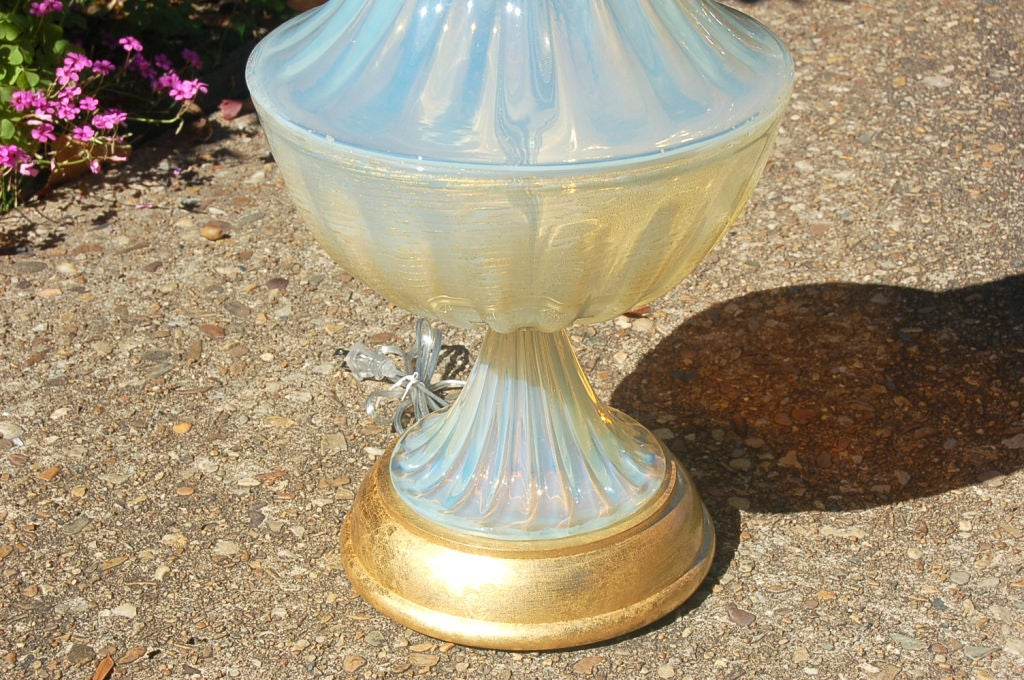 Matched Pair of Vintage Opaline Murano Lamps by The Marbro Lamp Company 4