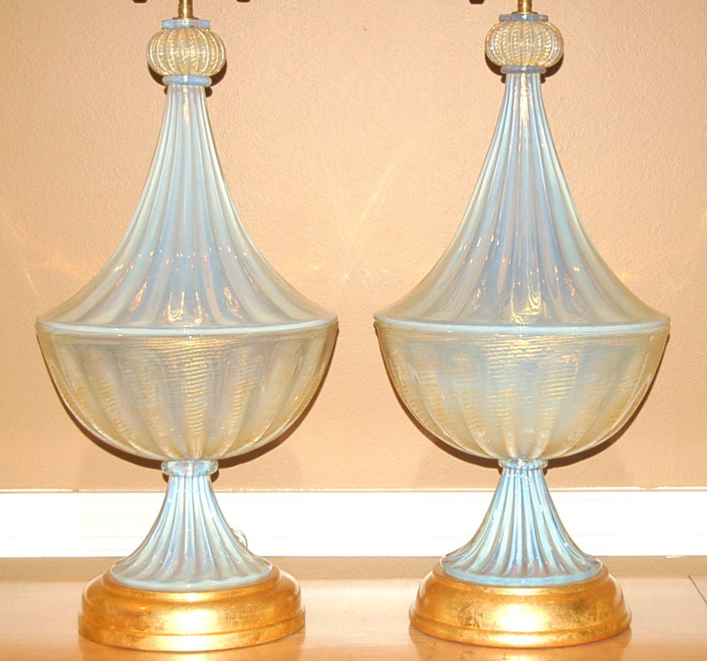 Matched Pair of Vintage Opaline Murano Lamps by The Marbro Lamp Company 5