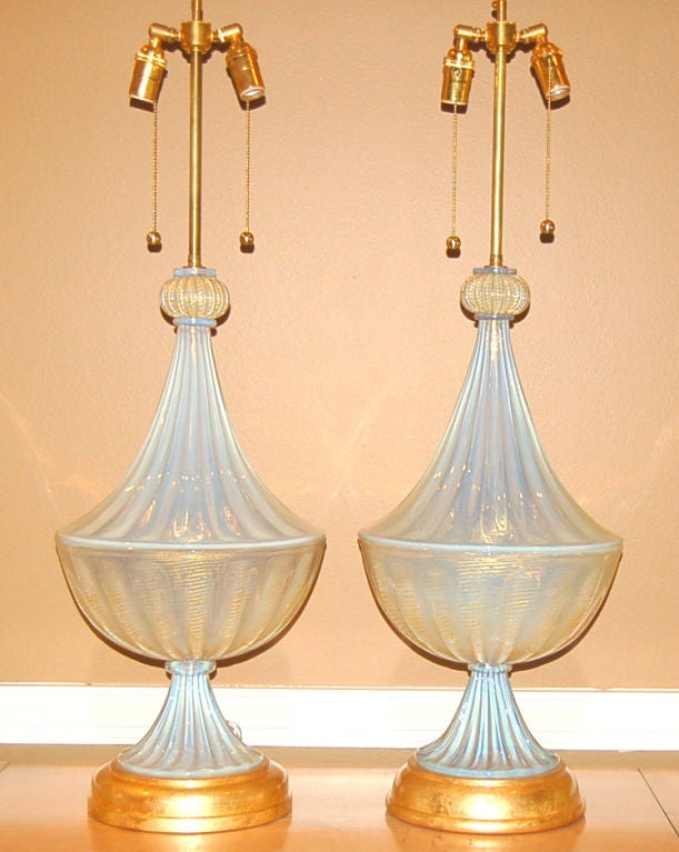 Matched Pair of Vintage Opaline Murano Lamps by The Marbro Lamp Company 2