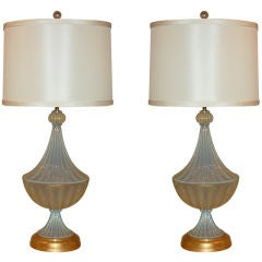 Matched Pair of Vintage Opaline Murano Lamps by The Marbro Lamp Company