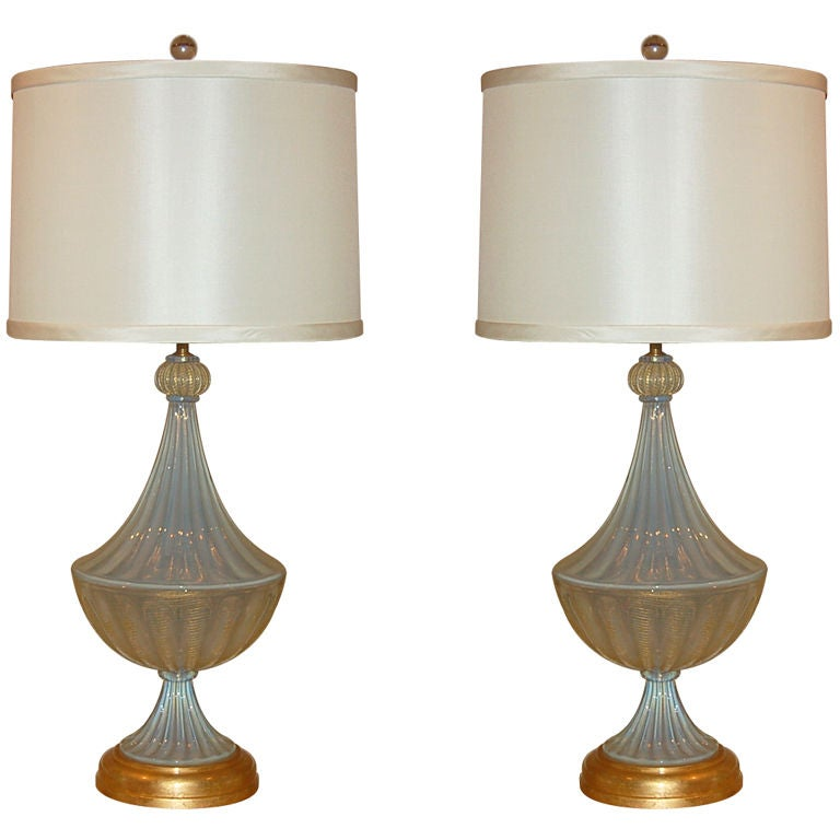 Matched Pair of Vintage Opaline Murano Lamps by The Marbro Lamp Company 1