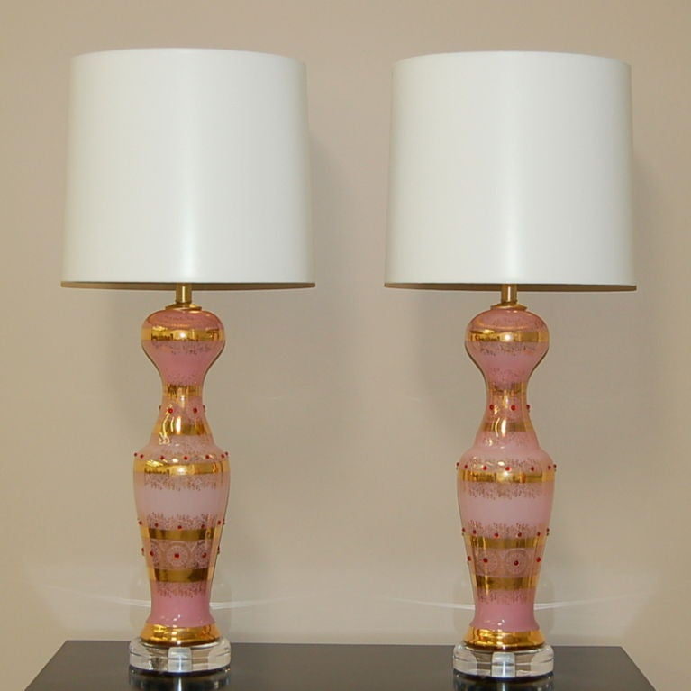 bejeweled cased glass murano lamps in pink is no longer available