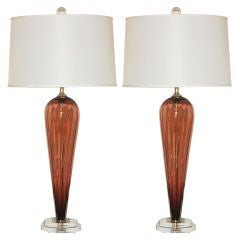 Handblown Pair of Glass Lamps by Joe Cariati in Whiskey