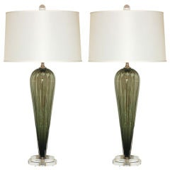 Handblown Pair of Sage Green Glass Lamps by Joe Cariati