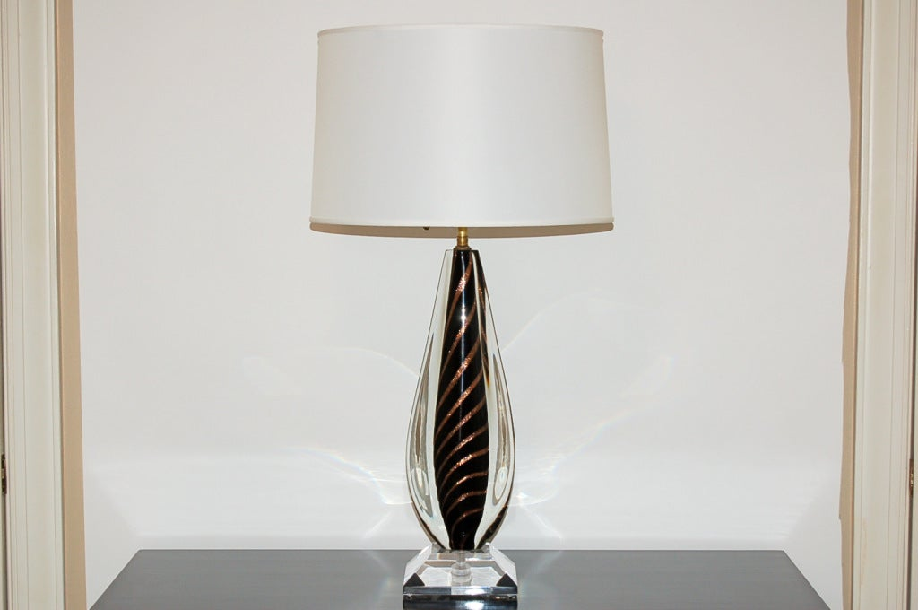 tiger striped vintage murano sommerso glass lamps for sale at 1stdibs. Black Bedroom Furniture Sets. Home Design Ideas