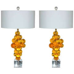 Pair of Vintage Resin Bubble Lamps by Silvano Pantani, 1966, in Butterscotch
