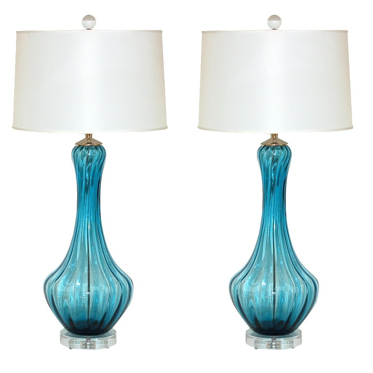 Pair Of Vintage Murano Petticoat Lamps In Teal Blue At 1stdibs