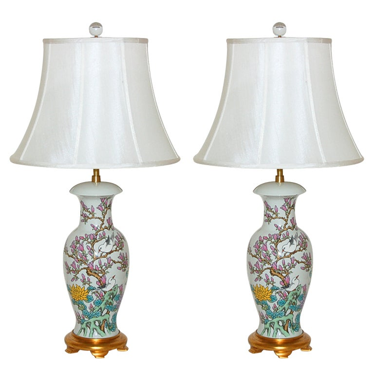 Pair Of Hand Painted Porcelain Lamps By The Marbro Lamp