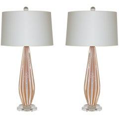 Rare Vintage Murano Table Lamps of Peach