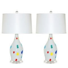 Dino Martens - Pair of Vintage Murano Patchwork Lamps