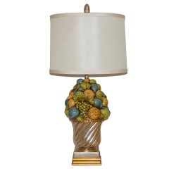 Beautiful Italian Ceramic Fruit Bowl Lamp by the Marbro Company
