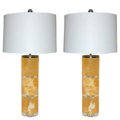 Orange Calcite Table Lamps by Swank Lighting