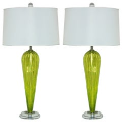 Yellow Green Pair of Handblown Lamps by Joe Cariati