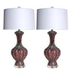 Pair of Vintage Murano Lamps in Deep Purple