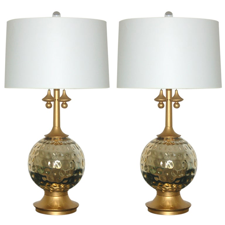pair of vintage mercury glass lamps in champagne at 1stdibs. Black Bedroom Furniture Sets. Home Design Ideas