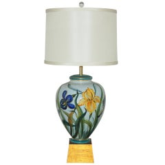 Vintage Monumental Hand-Painted Porcelain Lamp by Marbro