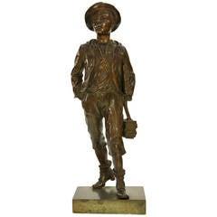 Bronze Statue of a Schoolboy by Marcel Debut