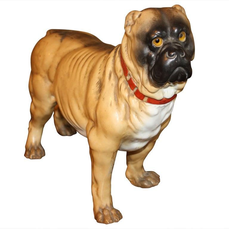 Painted Porcelain Mastiff at 1stdibs