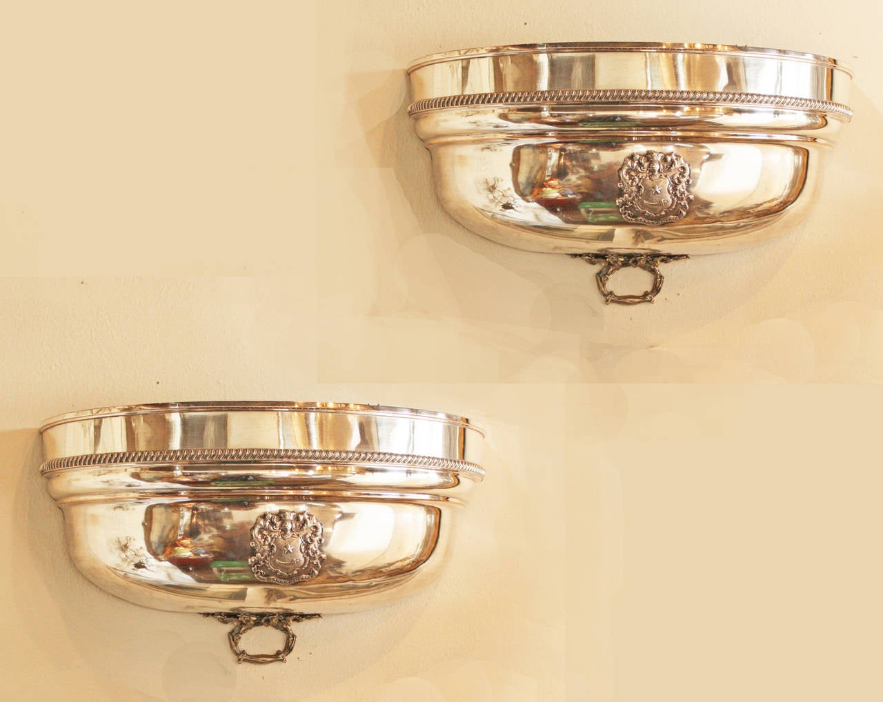 Silver Plated Meat Dome as Wall Pockets / Planters at 1stdibs