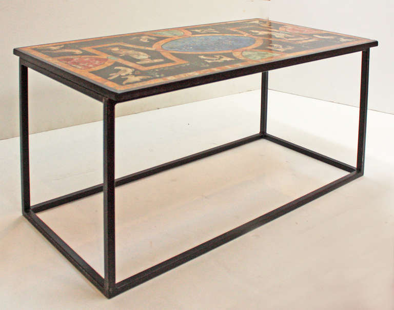 18th century sicilian scagliola table top with modern base for Th 37px60b table top stand