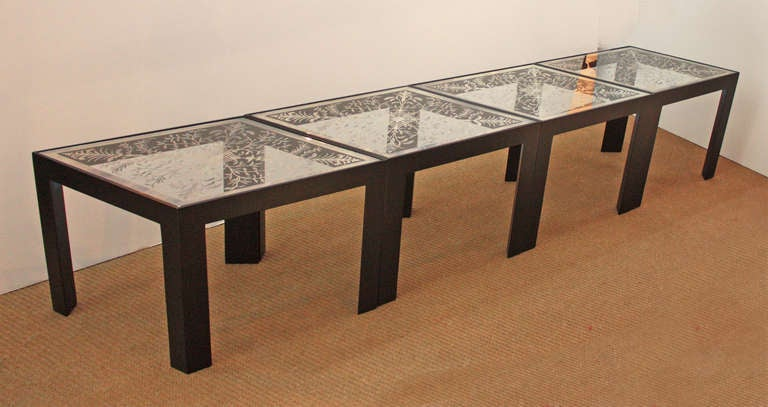 Mirrored Coffee Table Set Collette