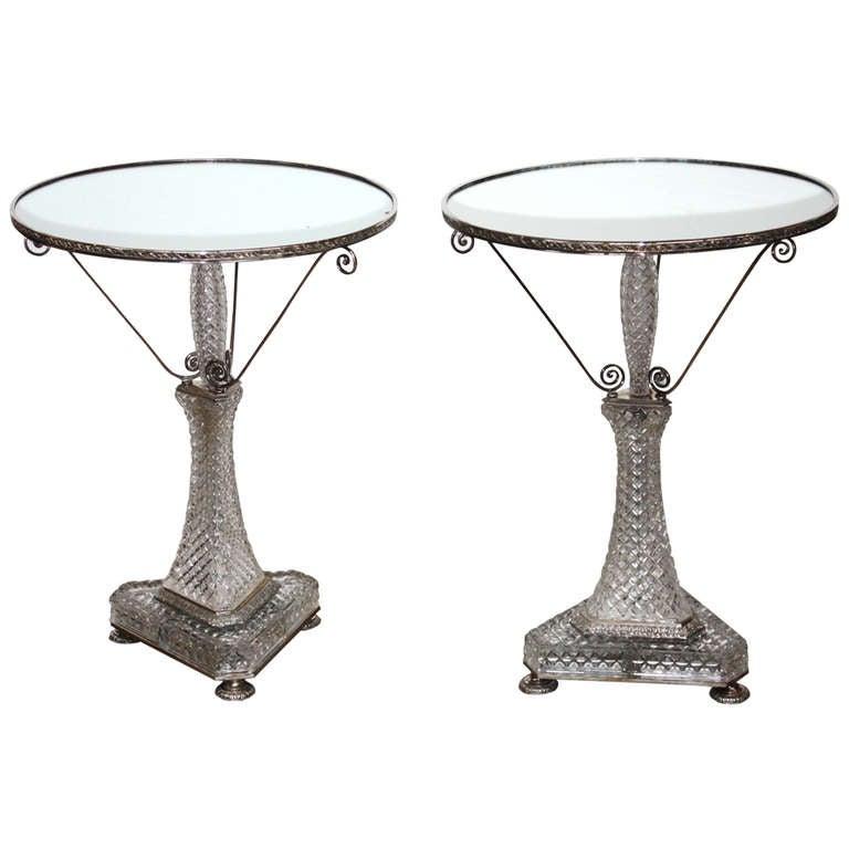 pair cut crystal gueridons by cristal et bronze paris at. Black Bedroom Furniture Sets. Home Design Ideas