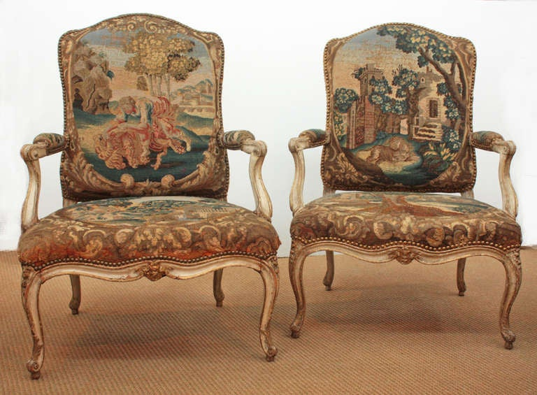 Pair of 18th Century Armchairs in Original Tapestry 2