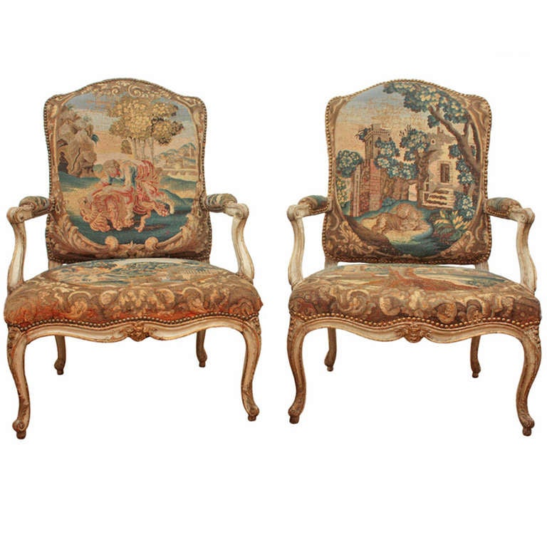 Pair of 18th Century Armchairs in Original Tapestry 1